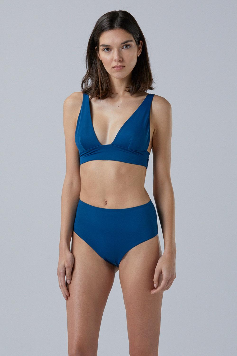 Sustainable Luxury Swimwear / Ropa de baño sostenible, eco bikini / bikini ecológico. Mana + Milos in plum, by NOW_THEN