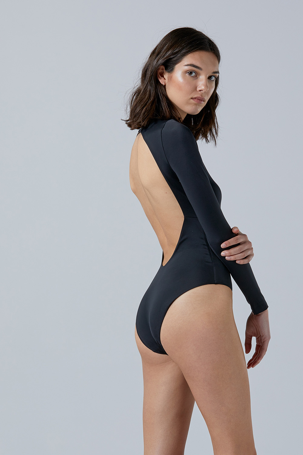 NOW_THEN Eugenie bodysuit in black swimsuit eco handmade