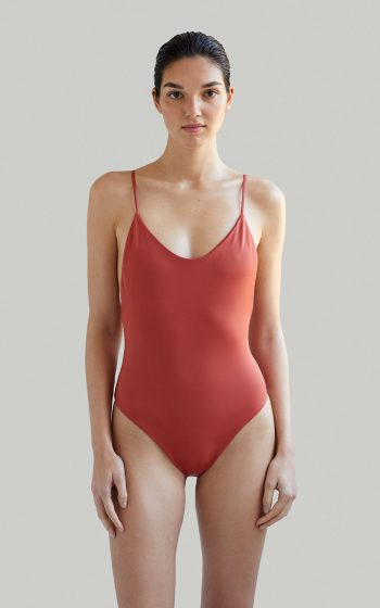 Sustainable Luxury Swimwear / Ropa de baño sostenible, eco swimsuit / bañador ecológico. Alona onepiece in clay, by NOW_THEN