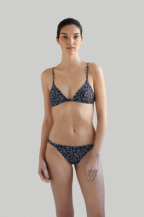 Sustainable Luxury Swimwear / Ropa de baño sostenible, eco bikini / bikini ecológico. Ilo Ilo bikini in anemone black, by NOW_THEN