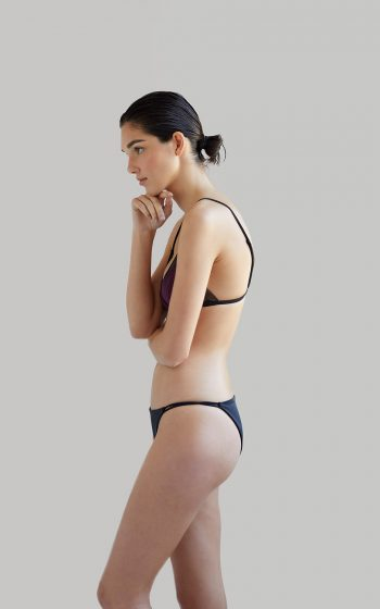 NOW_THEN Sustainable Luxury Swimwear Moda baño sostenible. Eco swimsuits and bikini / Bikinis y bañadores ecológicos Bikini Mana + Milos Plum recycled econyl