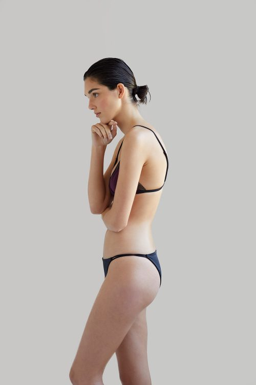 NOW_THEN Sustainable Luxury Swimwear Moda baño sostenible. Eco swimsuits and bikini / Bikinis y bañadores ecológicos Bikini Mana + Milos Plum recycled econyl
