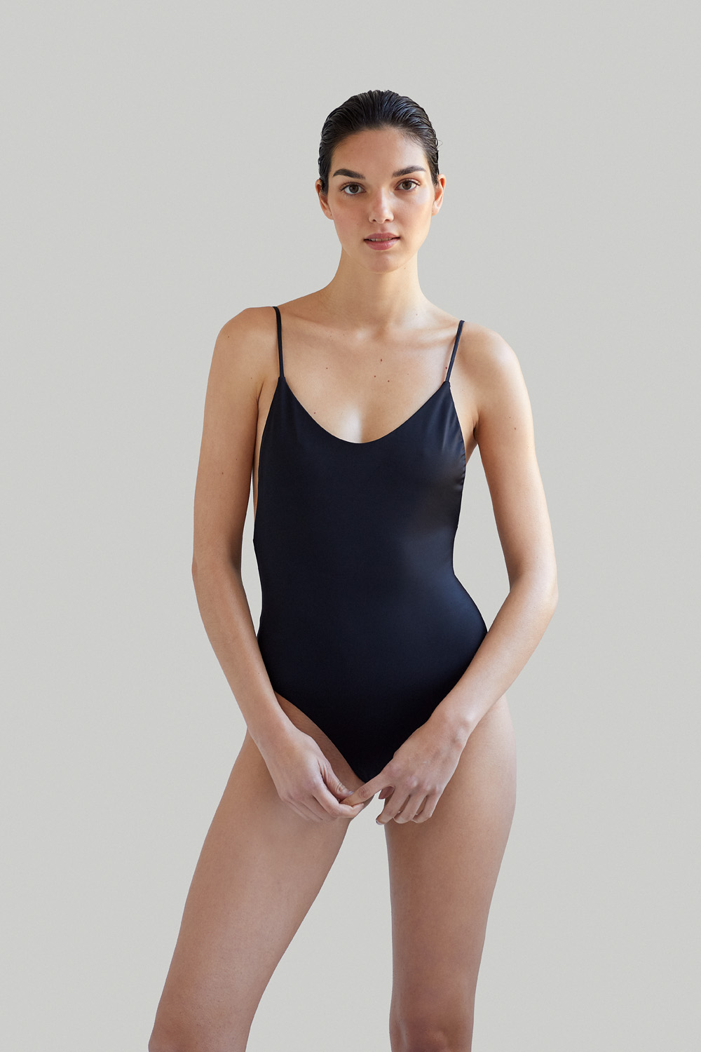 Sustainable Luxury Swimwear / Ropa de baño sostenible, eco swimsuit / bañador ecológico. Alona onepiece in blacksands, by NOW_THEN
