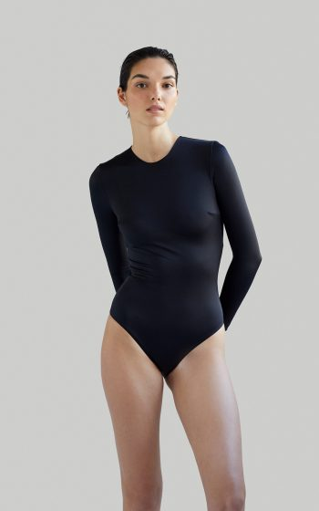 Sustainable Luxury Swimwear / Ropa de baño sostenible, eco bodysuit / bodysuit ecológico. Eugenie in blacksands, by NOW_THEN