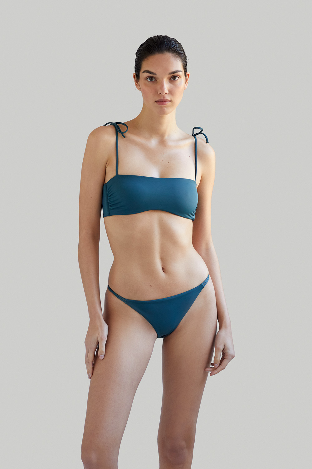 Sustainable Luxury Swimwear / Ropa de baño sostenible, eco bikini / bikini ecológico. Lio + Milos in algae, by NOW_THEN