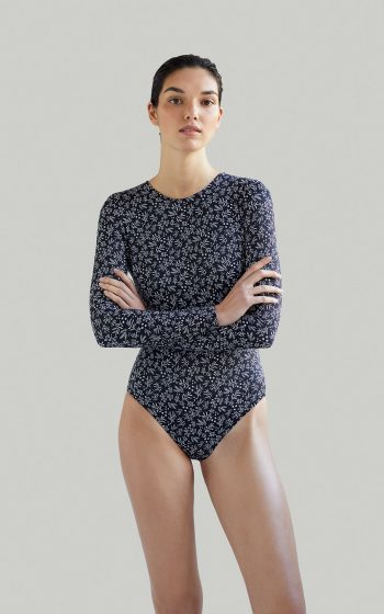 Sustainable Luxury Swimwear / Ropa de baño sostenible, eco bodysuit / bodysuit ecológico. Eugenie in anemone black, by NOW_THEN