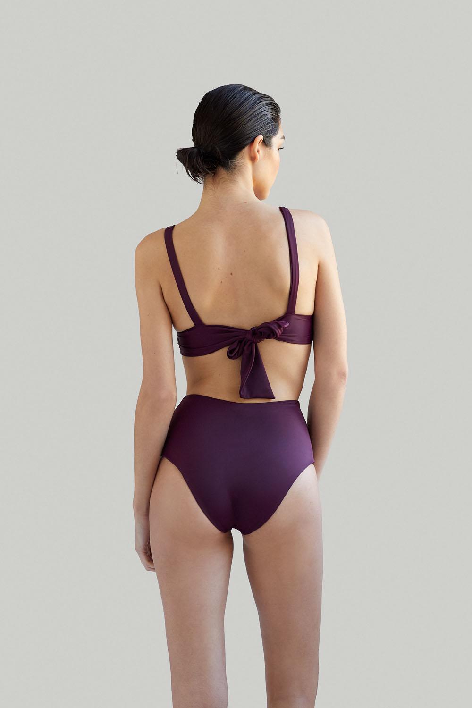 Sustainable Luxury Swimwear / Ropa de baño sostenible, eco bikini / bikini ecológico. Kapalai + Farond in plum, by NOW_THEN