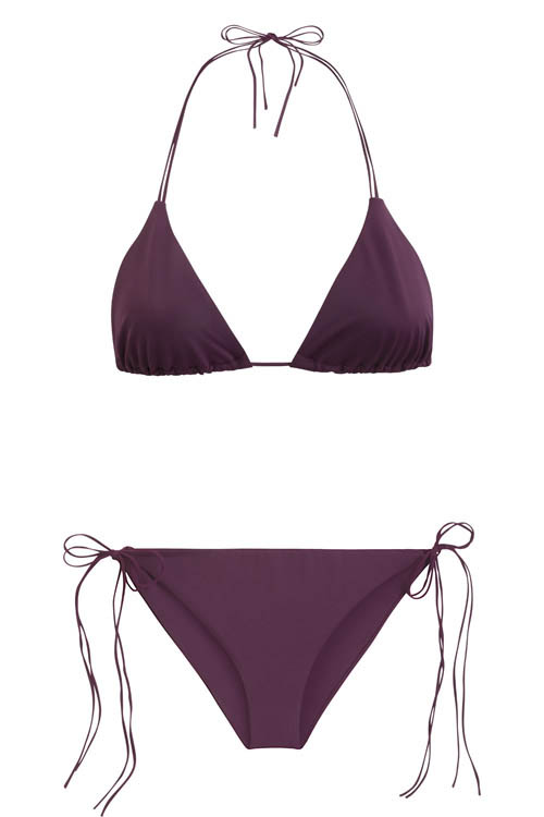 Sustainable Luxury Swimwear / Ropa de baño sostenible, eco bikini / bikini ecológico. Dreamlands + SaintJohn in plum, by NOW_THEN
