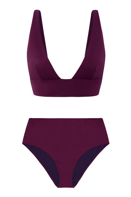 Sustainable Luxury Swimwear / Ropa de baño sostenible, eco bikini / bikini ecológico. Kapalai + Farond in plum, by NOW_THEN