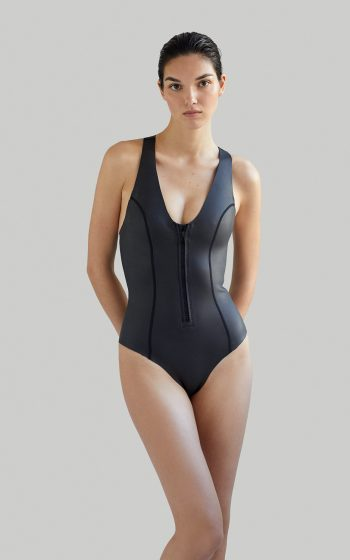 Sustainable Luxury Swimwear / Ropa de baño sostenible, eco swimsuit / bañador surf neopreno. Sylvia ecoprene wetsuit in black, by NOW_THEN