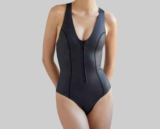 Sustainable Luxury Swimwear / Ropa de baño sostenible, eco swimsuit / bañador surf neopreno. Sylvia ecoprene wetsuit in black, by NOW_THEN