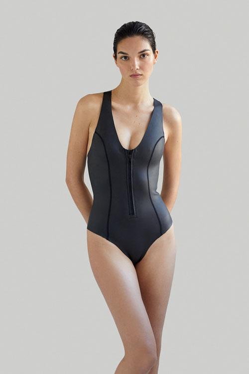 Sustainable Luxury Swimwear / Ropa de baño sostenible, neoprene wetsuit / bañador neopreno, surf ecoprene. Sylvia in black by NOW_THEN.