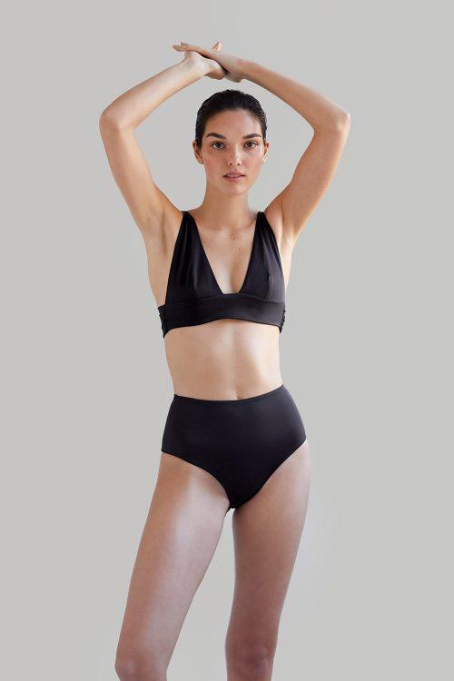 Kapalai Farond, NOW_THEN Sustainable Luxury Swimwear Moda baño sostenible. Eco swimsuits and bikini / Bikinis y bañadores ecológicos Bikini Kapalai+Farond Black reciclado