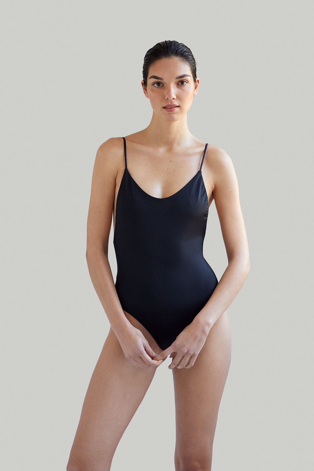 Ropa de baño sostenible, eco swimsuit / bañador ecológico. Alona onepiece color black, by NOW_THEN