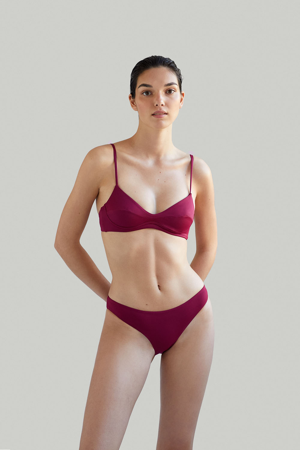 Sustainable Luxury Swimwear / Ropa de baño sostenible, eco bikini / bikini ecológico. Cayo + Entalula in pitaya, by NOW_THEN