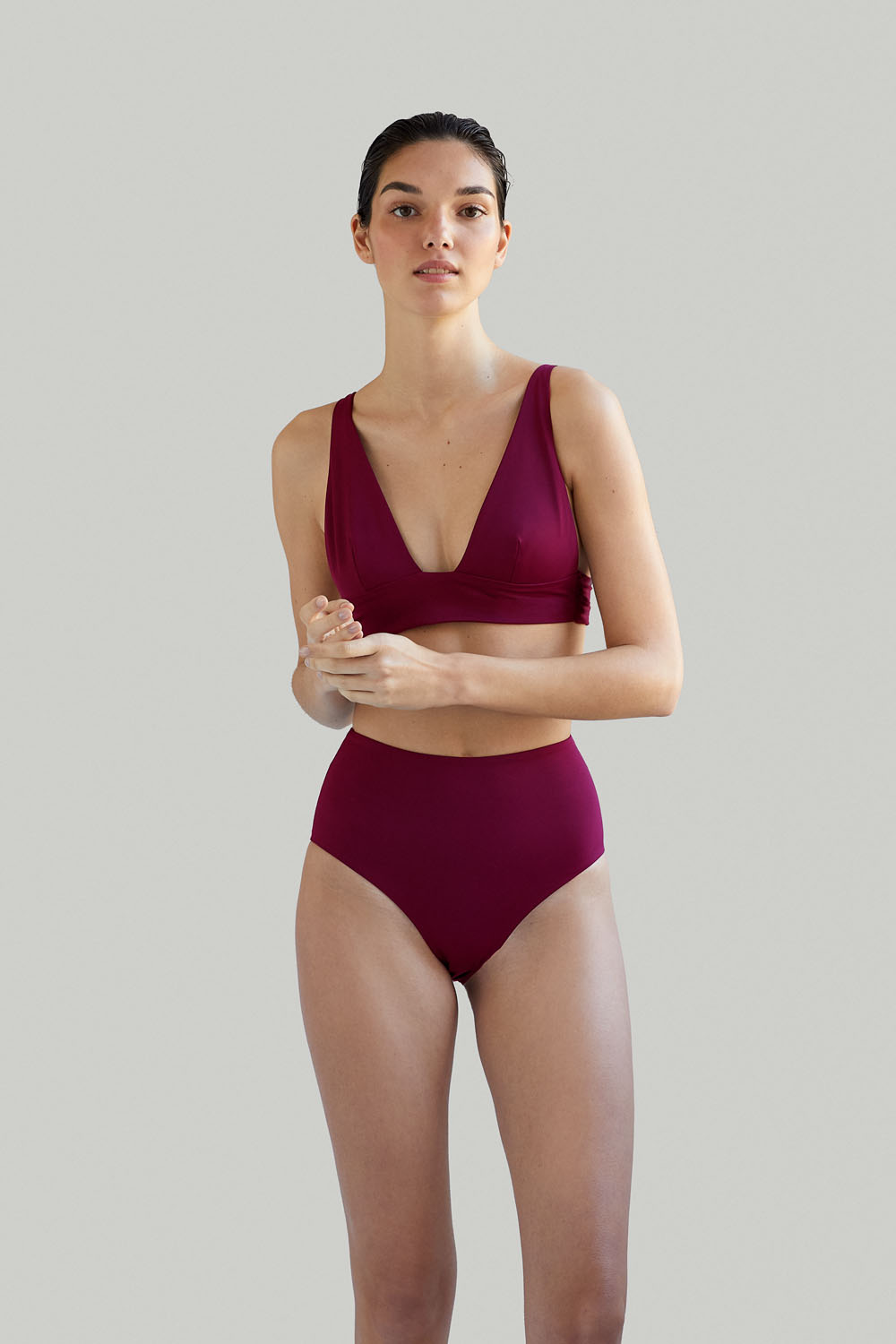 Sustainable Luxury Swimwear / Ropa de baño sostenible, eco bikini / bikini ecológico. Kapalai + Farond in pitaya, by NOW_THEN