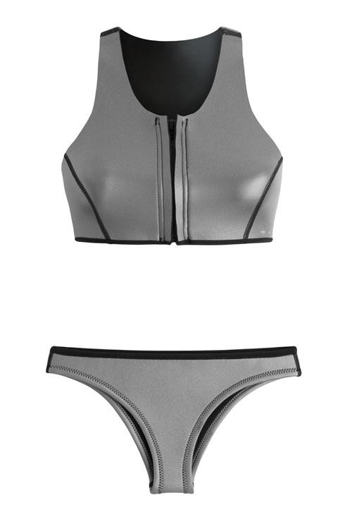 Neoprene bikini / Bikini de neopreno, Sustainable Luxury Swimwear / Ropa de baño sostenible, ecoprene surf / Margo in silver by NOW_THEN