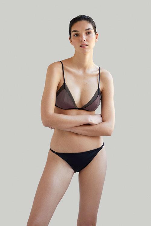Sustainable Luxury Swimwear / Ropa de baño sostenible, eco bikini / bikini ecológico. Mana + Milos in taupe, by NOW_THEN