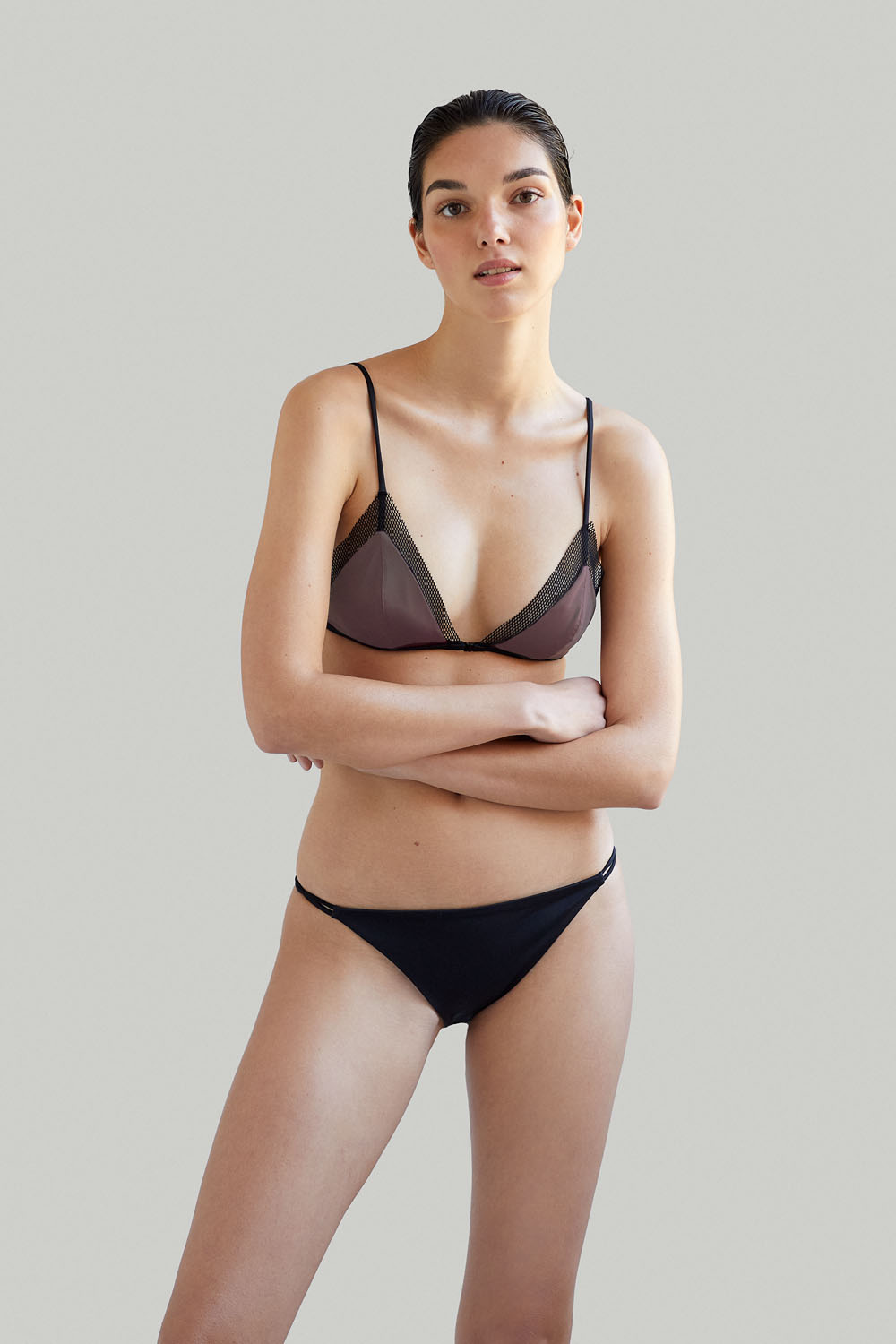 Sustainable Luxury Swimwear / Ropa de baño sostenible, eco bikini / bikini ecológico. Mana + Milos in taupe, by NOW_THEN