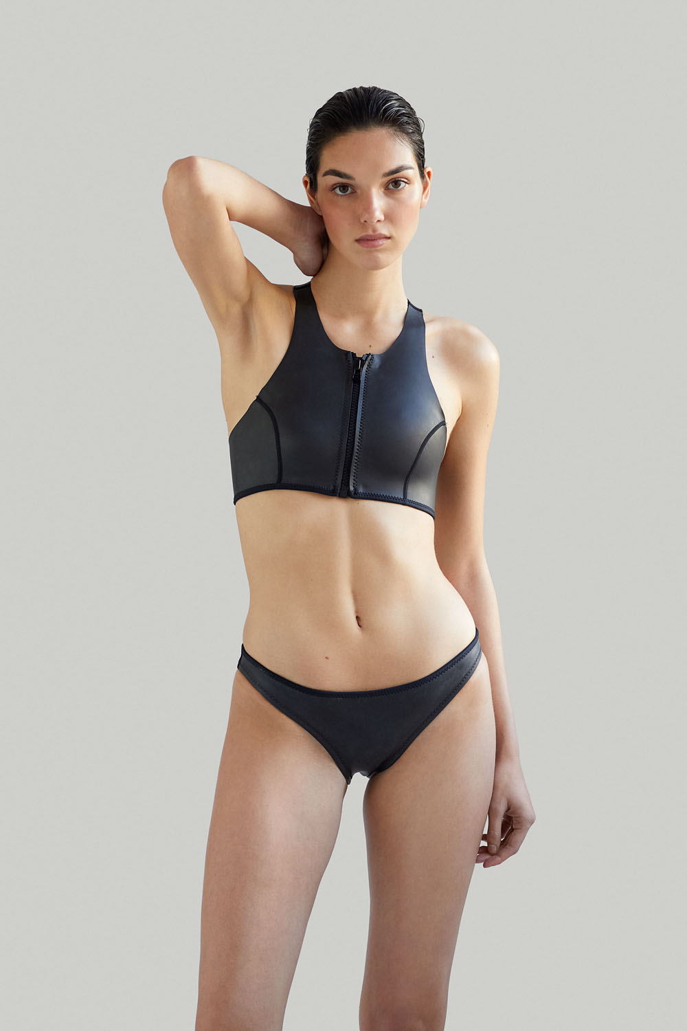 Neoprene bikini / Bikini de neopreno, Sustainable Luxury Swimwear / Ropa de baño sostenible, ecoprene surf / Margo in black by NOW_THEN