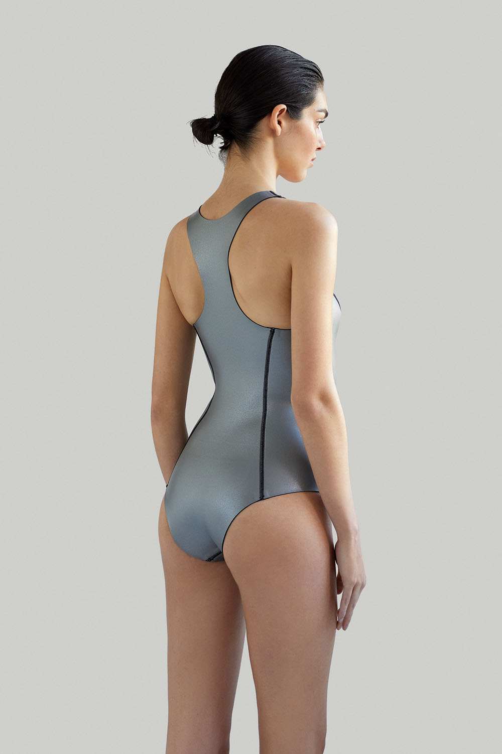 Sustainable Luxury Swimwear / Ropa de baño sostenible, neoprene wetsuit / bañador neopreno, surf ecoprene. Sylvia in silver by NOW_THEN,
