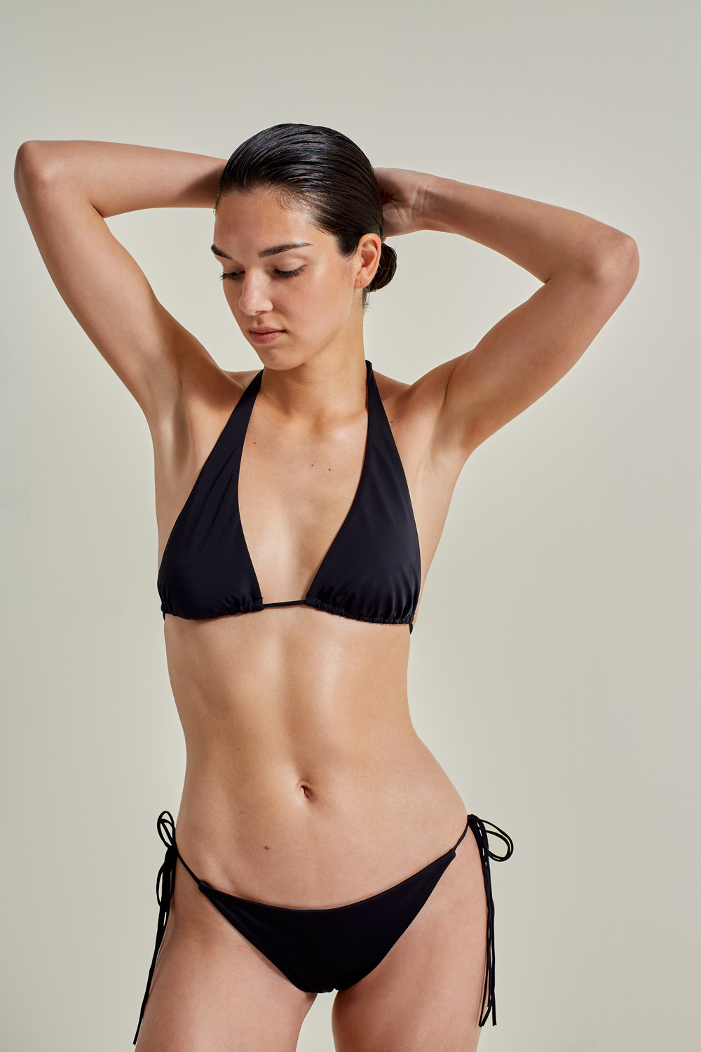 Sustainable Luxury Swimwear / Ropa de baño sostenible, eco bikini / bikini ecológico. Hermigua + St.John in black, by NOW_THEN