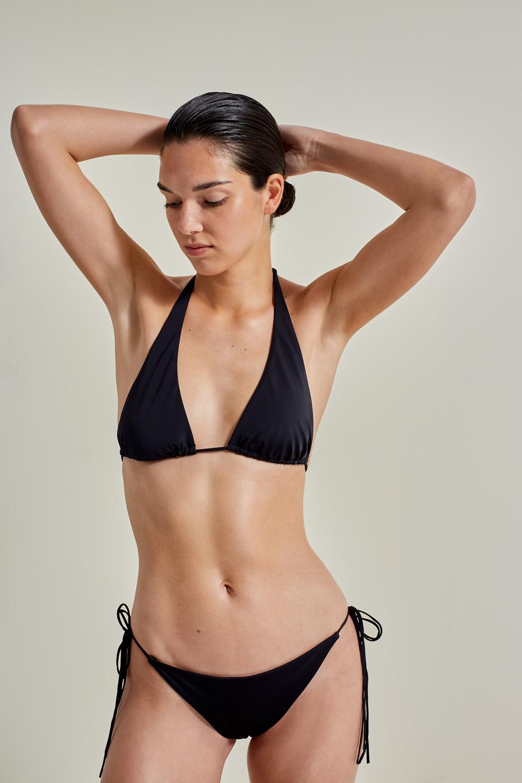 Sustainable Luxury Swimwear / Ropa de baño sostenible, eco bikini / bikini ecológico. Hermigua + St.John in black, by NOW_THEN