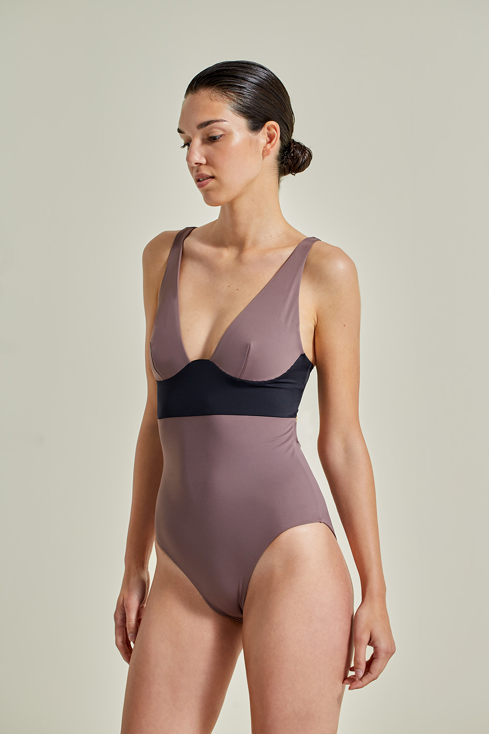 Sustainable Luxury Swimwear / Ropa de baño sostenible, eco swimsuit / bañador ecológico. Pacífico onepiece in taupe by NOW_THEN