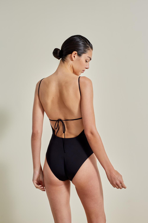 Sustainable Luxury Swimwear / Ropa de baño sostenible, onepiece swimsuit/ bañador ecológico. Aridane onepiece black, econyl, NOW_THEN