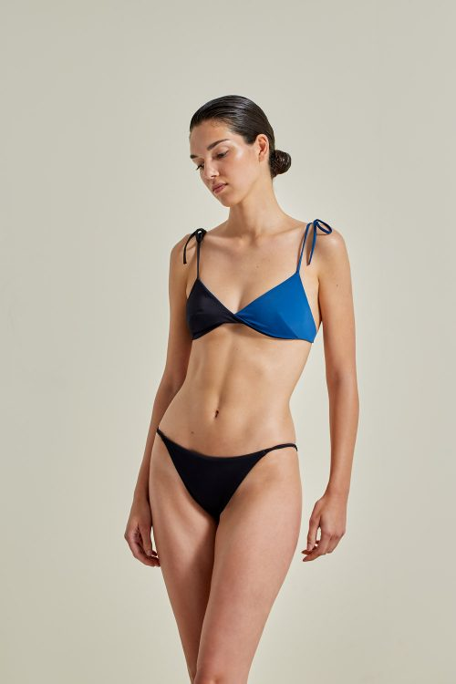 Sustainable Bikini, recycled fabric, handmade in Spain. Ons + Milos in black / atlantic, by NOW_THEN