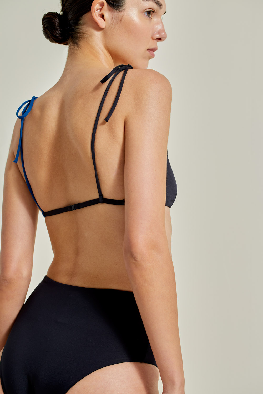 Sustainable Bikini, recycled fabric, handmade in Spain. Ons + Farond in black / atlantic, by NOW_THEN