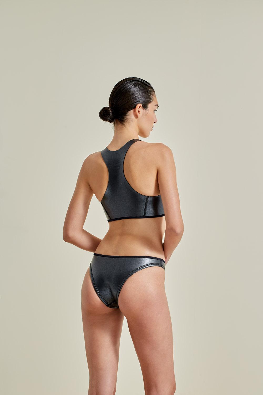 Neoprene bikini, petroleum free surf ecoprene, Sustainable Swimwear. Margo in gray by NOW_THEN