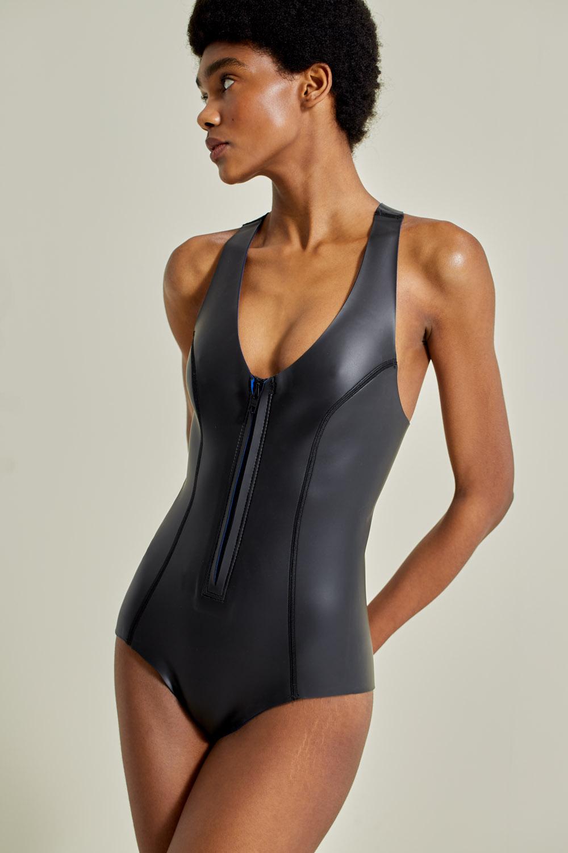 Neoprene wetsuit, petroleum-free surf ecoprene. Sylvia in black, by NOW_THEN, sustainable swimwear.