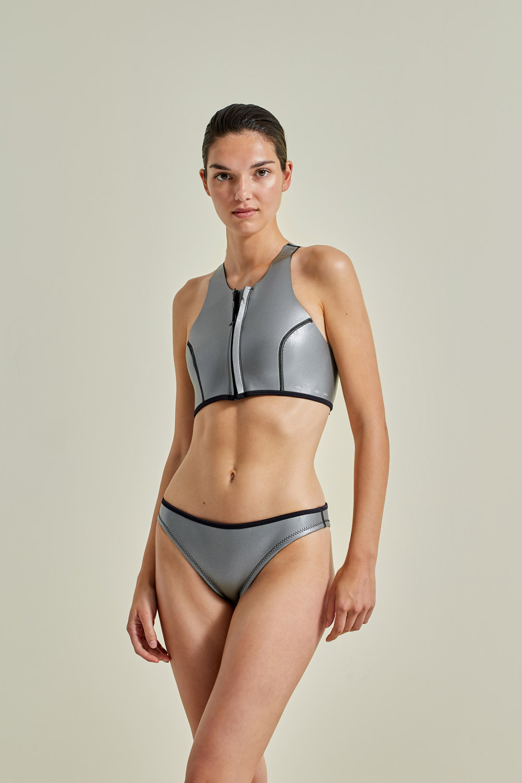 Neoprene bikini, petroleum free surf ecoprene, Sustainable Swimwear. Margo in silver by NOW_THEN
