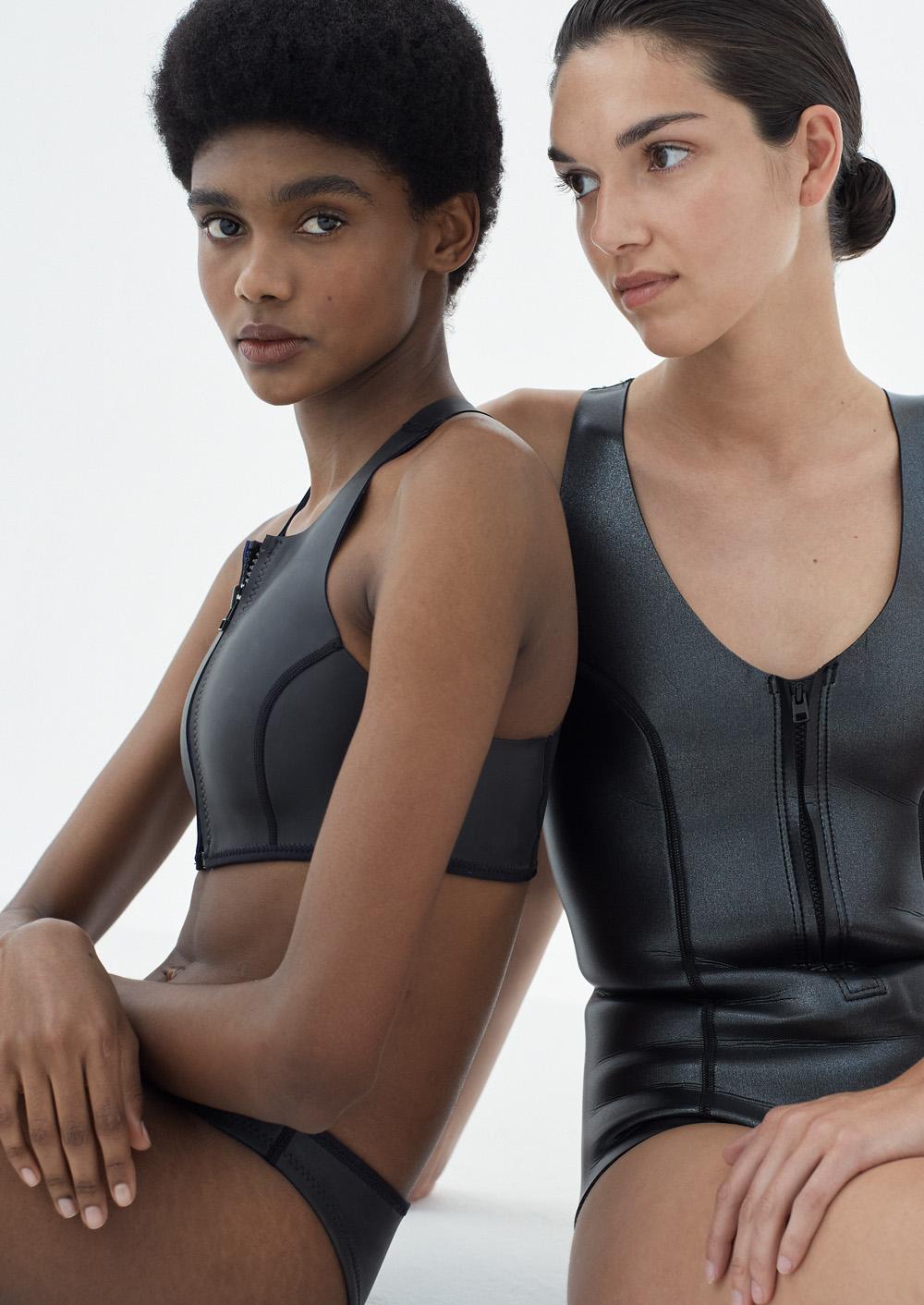 Neoprene bikini, petroleum free surf ecoprene, Sustainable Swimwear. Margo in black by NOW_THEN