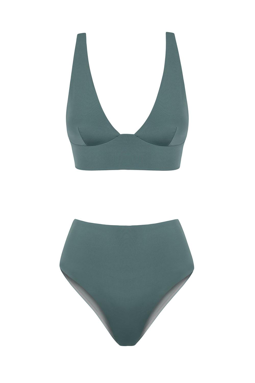 Kapalai Farond, NOW_THEN Sustainable Luxury Swimwear Moda baño sostenible. Eco swimsuits and bikini / Bikinis y bañadores ecológicos. Color kelp