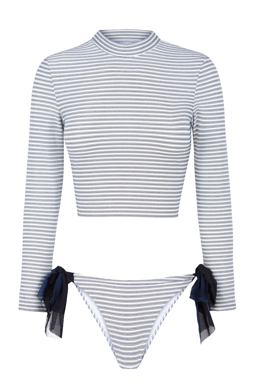 Sustainable Luxury Swimwear / Ropa de baño sostenible, onepiece swimsuit/ bañador ecológico. Barriere rashguard + Salinas bottom, recycled polyester - NOW_THEN