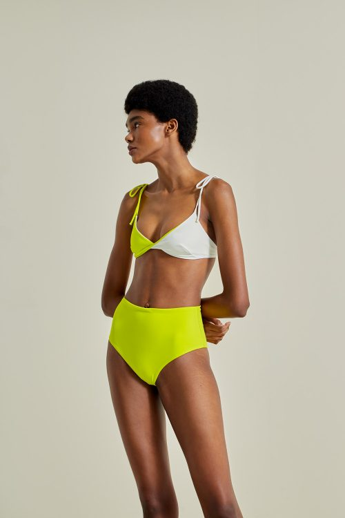 Sustainable Bikini, recycled fabric, handmade in Spain. Ons + Farond in shell / lilly, by NOW_THEN