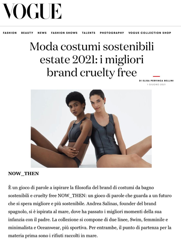vogue, italia, vogue magazine, swimwear, ethical, brands, nowthen, nowthenlabel, cruelty-free fashion